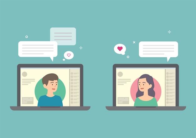 Man en vrouw die op internet, online het dateren concept, vectorillustratie babbelen.