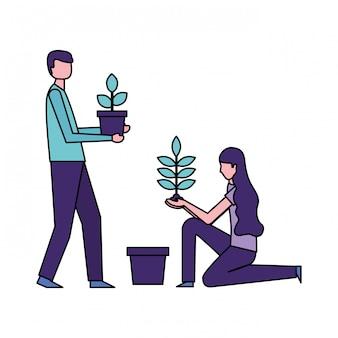 Man en vrouw die potplanten houden