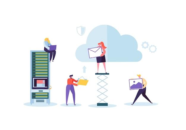 Man en vrouw die samenwerken en gegevens delen informatieoverdrachtmappen
