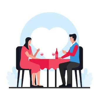 Man en vrouw diner in valentijnsdag.
