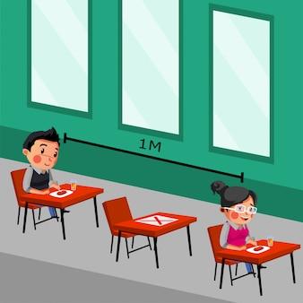 Man en vrouw doen sociale afstand en fysieke afstand op café