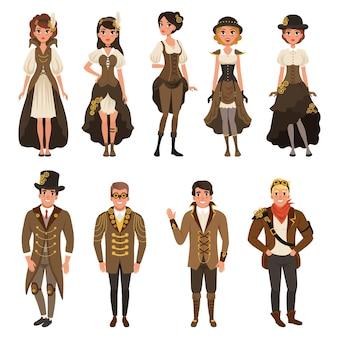 Man en vrouw dragen bruine fantasie kostuum set illustraties