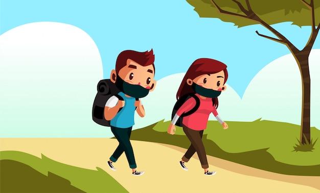 Man en vrouw dragen masker loopt op het park tijdens nieuwe normaal