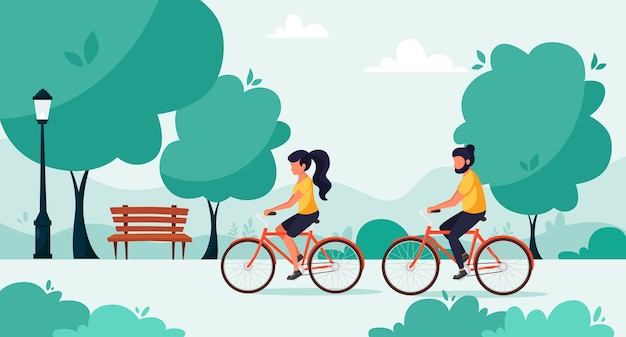 Man en vrouw fietsen in het park. het concept van een gezonde levensstijl, het stadsleven. in een vlakke stijl.