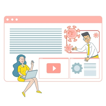 Man en vrouw gebruiken online conferencing om infectie te voorkomen