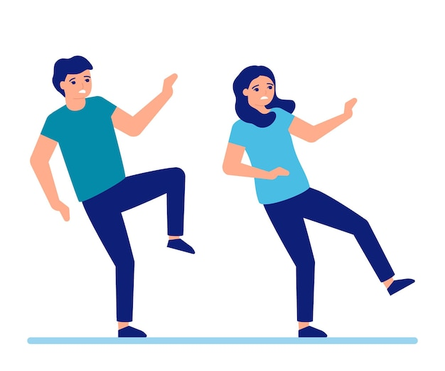 Man en vrouw glijden uit en vallen op de grond gladde vloer voor volwassen mensen vallen mannen en vrouwen