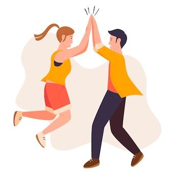 Man en vrouw high fiving