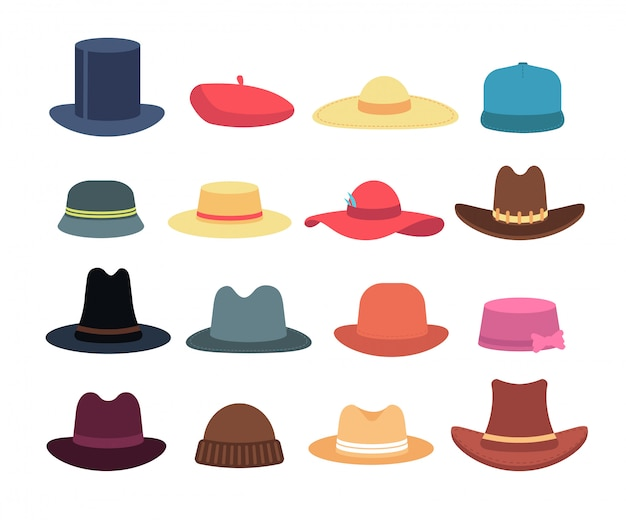 Man en vrouw hoeden. cartoon hoed en pet hoofdtooi geïsoleerde collectie