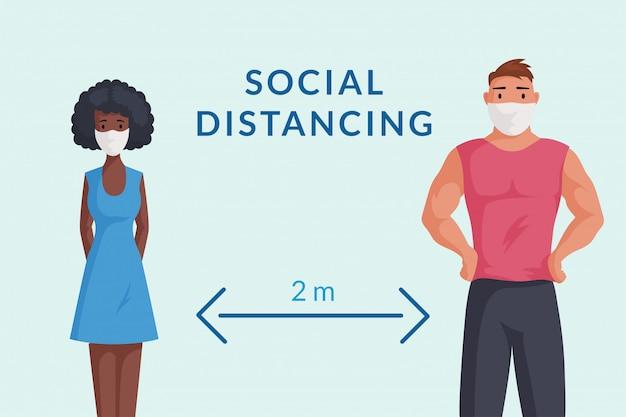 Man en vrouw in beschermende gezichtsmaskers houden de sociale illustratie van het afstandsbeeldverhaal.