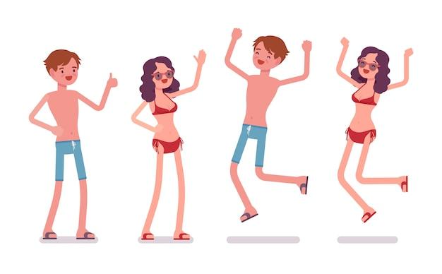 Man en vrouw in strandkleding, positieve emoties
