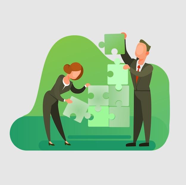 Man en vrouw kantoorpersoneel tekens stapel puzzel Premium Vector