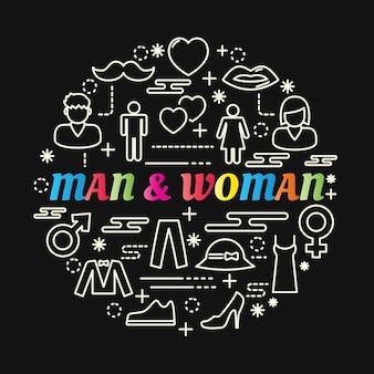 Man en vrouw kleurrijke verloop met lijn pictogrammen instellen