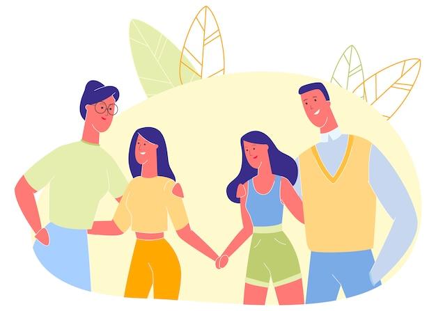Man en vrouw knuffelen kinderen, relatie.