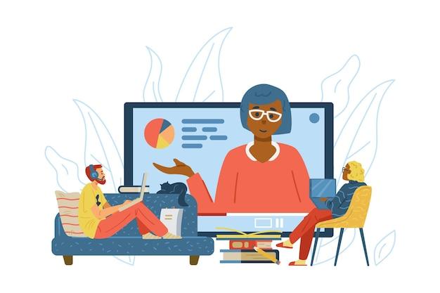 Man en vrouw krijgen onderwijs op online school via internettechnologie