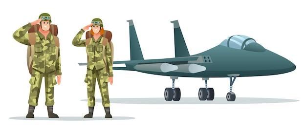 Man en vrouw leger soldaat dragen rugzak karakters met militair straalvliegtuig