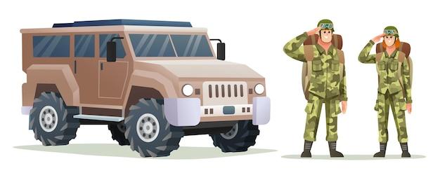 Man en vrouw leger soldaat dragen rugzak karakters met militair voertuig