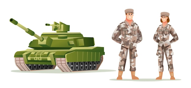Man en vrouw leger soldaat karakters met tank cartoon afbeelding
