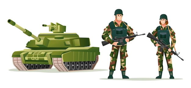 Man en vrouw leger soldaten houden wapen geweren met tank cartoon afbeelding