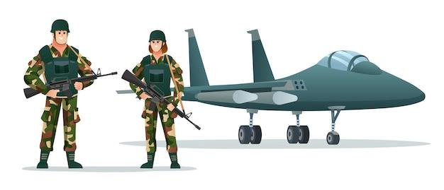 Man en vrouw leger soldaten met wapen geweren met militaire straalvliegtuig cartoon afbeelding