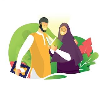 Man en vrouw lezen een heilige koran terwijl ramadan mubarak eid fitr