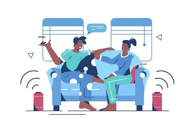 Man en vrouw luisteren luide muziek in appartement vlakke stijl concept. tijd samen thuis.