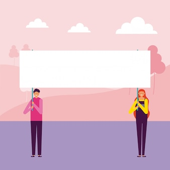 Man en vrouw met banners