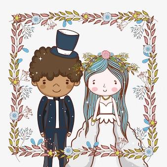 Man en vrouw met frame en planten bladeren