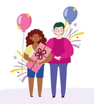 Man en vrouw met geschenkdoos en ballon cartoon vectorillustratie