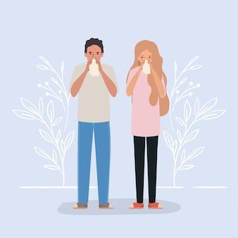 Man en vrouw met koude holding weefsel ontwerp van medische zorg hygiëne gezondheid noodhulp examen kliniek en patiënt thema illustratie