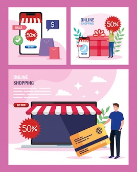 Man en vrouw met laptop smartphone en icon set van winkelen online e-commerce markt detailhandel en koop thema illustratie