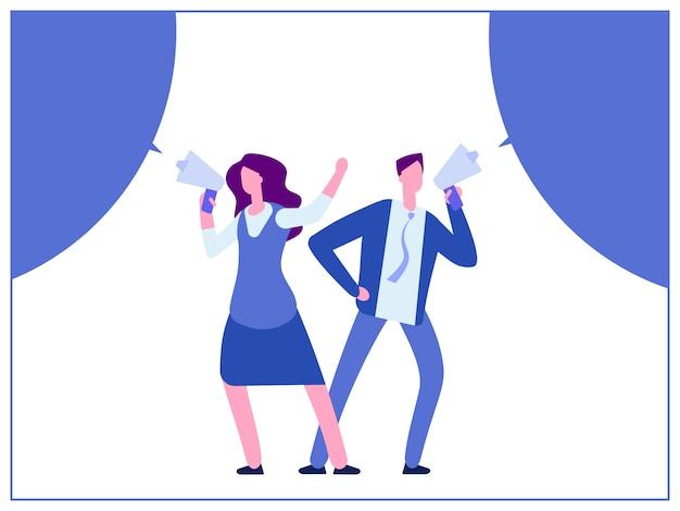 Man en vrouw met megafoon en bubble speech