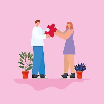 Man en vrouw met rood raadselstuk en installaties op een roze illustratie als achtergrond