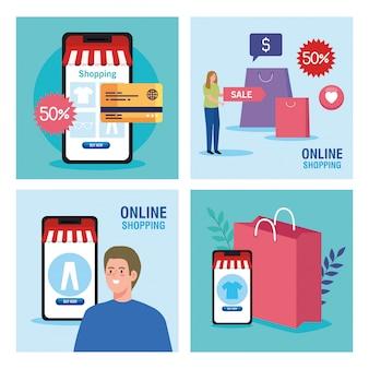 Man en vrouw met smartphones en icon set van winkelen online e-commerce markt detailhandel en koop thema illustratie