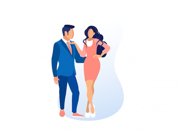 Man en vrouw modellen in trendy kleding poseren