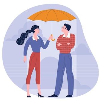 Man en vrouw onder een paraplu platte ontwerp concept illustratie