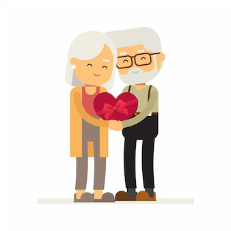 Man en vrouw ontvangen geschenken op valentijnsdag