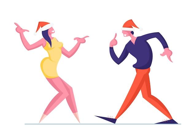 Man en vrouw paar in santa hoeden dansen geïsoleerd op wit