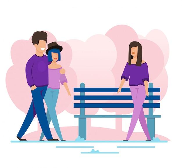 Man en vrouw paar ontmoet vrouwelijke vriend op wandeling