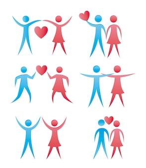 Man en vrouw pictogrammen geïsoleerd over witte achtergrond vector