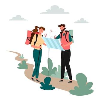 Man en vrouw reizen en kijken naar de kaart