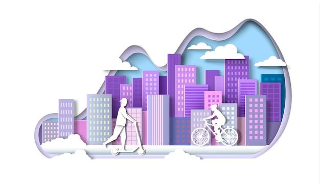 Man en vrouw rijden elektrische kick scooter fiets vector papier knippen illustratie modern voertuig eco ...