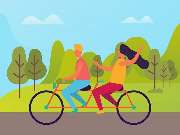 Man en vrouw rijden op dubbele fiets vector mensen