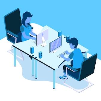 Man en vrouw samen te werken
