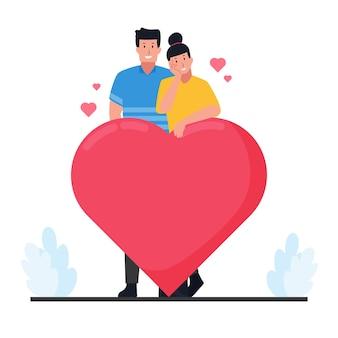 Man en vrouw staan achter grote liefde op valentijnsdag.