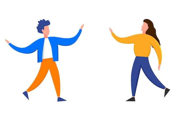Man en vrouw staan met uitgestrekte armen geïsoleerd op een witte achtergrond. leuke platte stijl. vector illustratie.