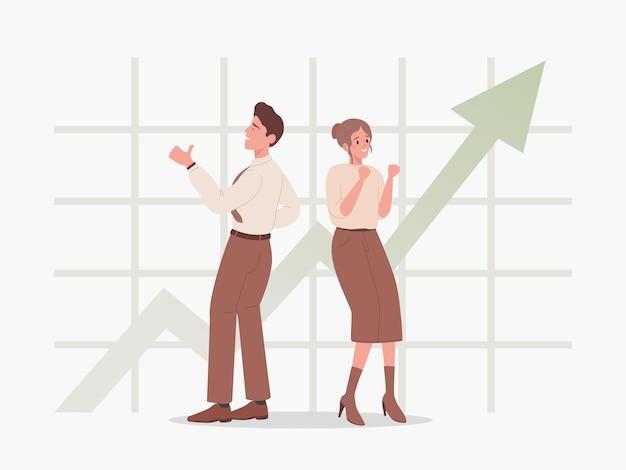Man en vrouw staan op de achtergrond van stijgende grafiek