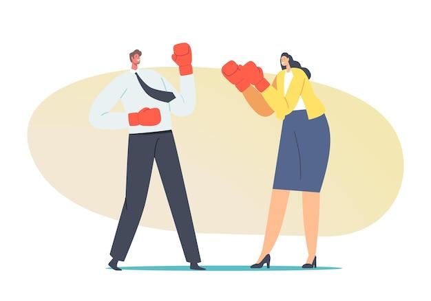 Man en vrouw strijd concept