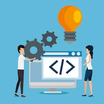 Man en vrouw teamwerk met versnellingen en computer website