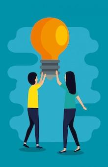 Man en vrouw teamwork met lamp idee