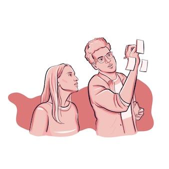 Man en vrouw teamwork